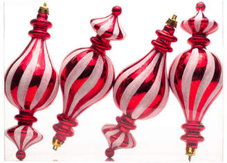 Queens Of Christmas 4-Pack Red And White Finial Candy Ornament Set