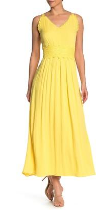 Nina Leonard Sleeveless Lace Trim Maxi Dress