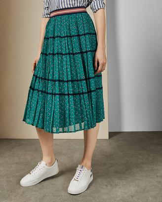 Ted Baker TALARLA Floral dot pleated midi skirt