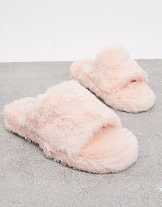 Simmi Shoes Simmi London fluffy slippers in baby pink