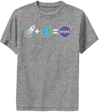 Licensed Character Boys 8-20 NASA Rocket Plus Planet Earth Equals NASA Emoji Performance Graphic Tee