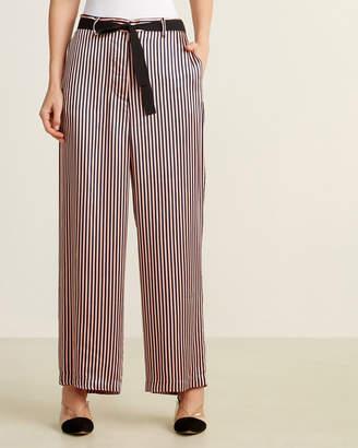Hache Vertical Stripe Belted Wide Leg Pants