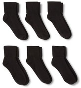 Merona Women's Casual Foldover Socks 6-Pack Black One Size