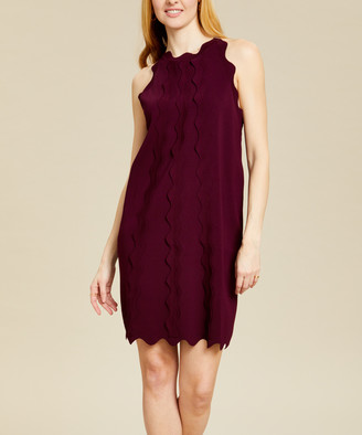 Ted Baker Women's Casual Dresses OXBLOOD - Oxblood Rickrack Scalloped Rianori Shift Dress - Women