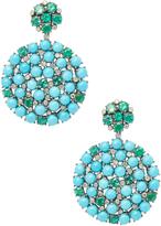 Artisan Women's 14K Gold Turquoise & Emerald Cluster Earrings