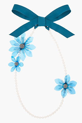 Lanvin blue pearl and flower ribbon necklace