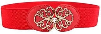 DAYNECETY Women Ladies Elastic Waist Belt Wide Stretch Vintage Metal Buckle (Red)