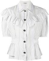 Miu Miu striped ruffle-trimmed shirt