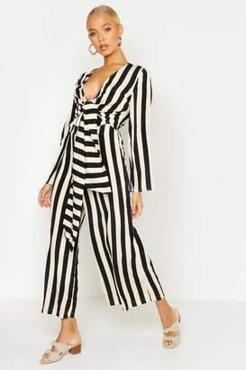 boohoo Stripe Twist Tie Flare Sleeve Jumpsuit