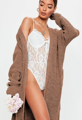 Missguided Mocha Belted Maxi Cardigan