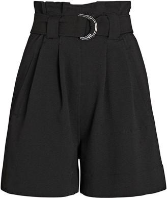 Ganni Belted Crepe Paperbag Shorts