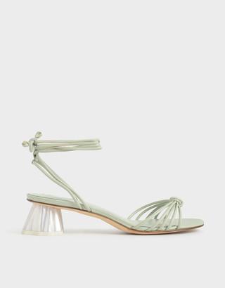 Charles & Keith Geometric Heel Ankle Tie Sandals
