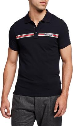 Moncler Men's Exclusive Logo-Stripe Polo Shirt