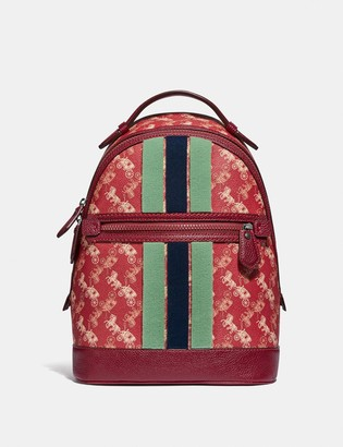 Coach Barrow Backpack With Horse And Carriage Print And Varsity Stripe