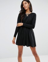 Brave Soul Lace Up Skater Dress