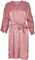 Cocoove Maxine Satin Dress With Ruffle Sleeve In Rose