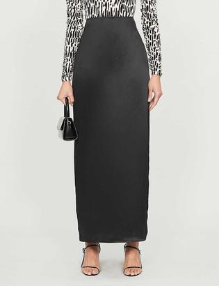 Reformation Heather high-waisted side-split silk-satin skirt