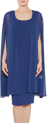 Gina Bacconi Moss Crepe Dress And Chiffon Cape