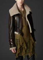 Shearling Funnel Neck Aviator Jacket