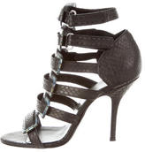 Pierre Hardy Snakeskin Round-Toe Sandals