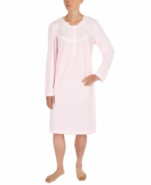 Miss Elaine Embroidered Lace-Trim Nightgown