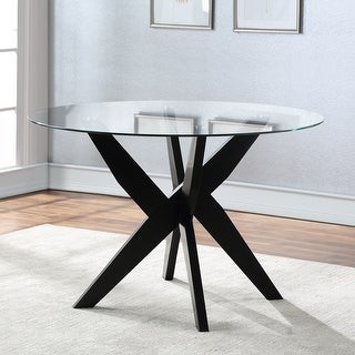 Strick & Bolton Aster Round Glass Top Dining Table - See Product Description