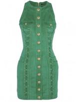 Balmain Lace-up suede mini dress