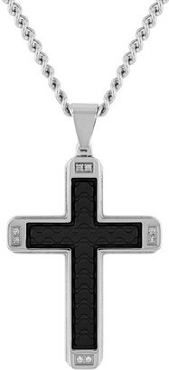 Unbranded Men's Stainless Steel & Faux Leather Diamond Accent Cross Pendant Necklace