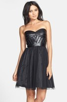 Aidan Mattox Faux Leather Trim Fit & Flare Dress (Online Only)