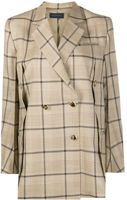 Eudon Choi Buttoned-Vent Double Breasted Check Blazer