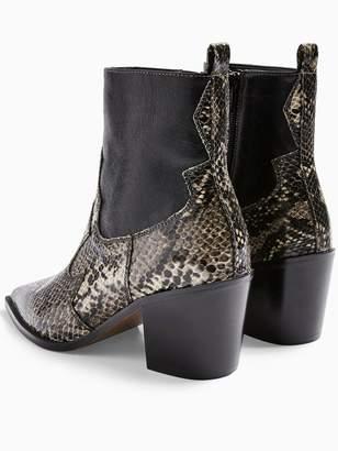 Topshop Bliss Snake Print Western Boots - Black