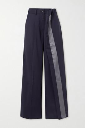 Sacai Layered Satin-trimmed Grain De Poudre Wide-leg Pants - Navy