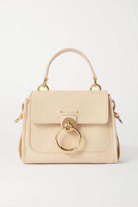 Chloé Tess Day Mini Textured And Smooth Leather Shoulder Bag - Beige