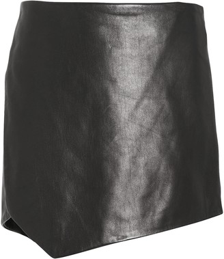 Mason by Michelle Mason Leather Slit Side Mini Skirt