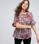Asos Smock T- Shirt in Check with Floral
