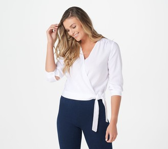 Side Stitch 3/4-Sleeve Cropped Wrap Top