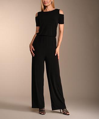 Lbisse Women's Jumpsuits Black - Black Shoulder-Cutout Wide-Leg Jumpsuit - Women