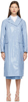 Thumbnail for your product : Sportmax Blue Patent Faux-Leather Trench Coat