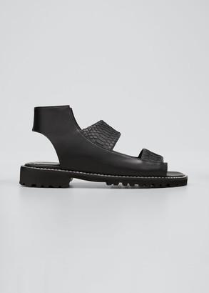 Manolo Blahnik Fialga Leather & Snake Sport Sandals