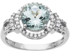 Lord & Taylor Aqua and Diamond Ring in White Gold
