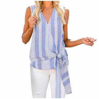 HEREEQ Women's V Neck Tank Tops Stripe Sleeveless Knot Henley Shirts Long Tunic Tees Sky Blue Large