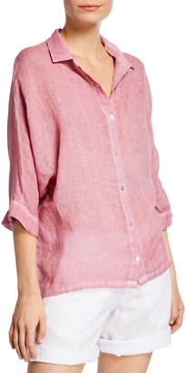 120% Lino 3/4-Sleeve Linen-Front Jersey Back Shirt