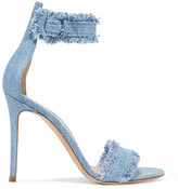 Gianvito Rossi Lola Frayed Denim Sandals - Light denim
