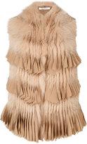 Givenchy large fringe panel scarf - women - Fox Fur - M