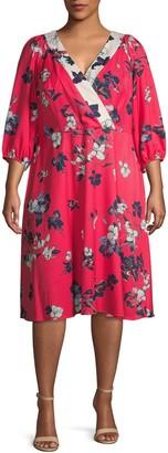 Adrianna Papell Plus Floral Three-Quarter Sleeve Dress