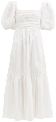 Self-Portrait Puff-sleeved Taffeta Dress - White