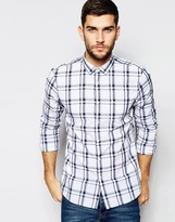 Jack Wills Check Shirt In Classic Regular Fit In Navy And White