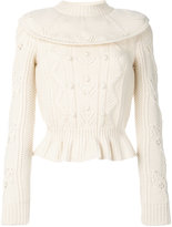 RED Valentino flared textured knit jumper