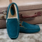 Graham and Green Petrol Suede Moccasins