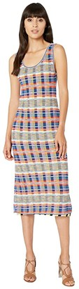 M Missoni Sleeveless Midi Dress with Printed Plaid Mesh Overlay (Rainbow) Women's Clothing